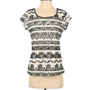 Elle Top Blouse top shirt SS cream black lace SM